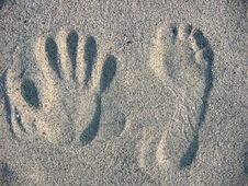 Free Photo Footprints On Beach Sand Royalty Free Stock Photos - 2035768