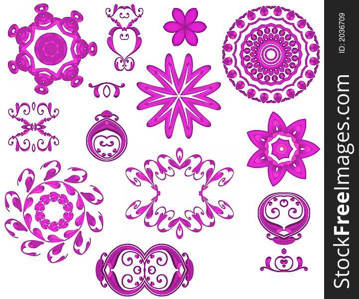 Decorative Pink Web Icons