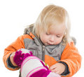 Free Adorable Girl Dressing Winter Jacket And Hat Royalty Free Stock Images - 20305409