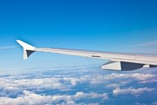 Wing Of The Plane With Blue Sky Royalty Free Stock Photo