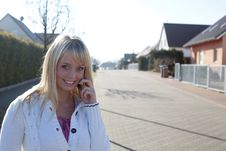 Free Woman With A Cell Phone On A Village Street Stock Photo - 20300810