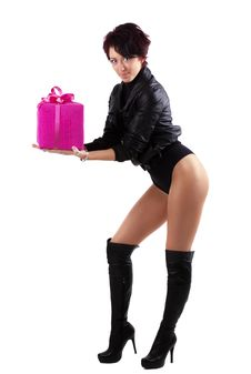 Free Young Woman Holding A Red Giftbox Stock Image - 20303221