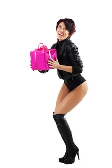 Free Young Woman Holding A Red Giftbox Stock Photography - 20303222