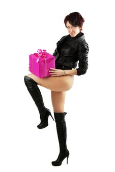 Free Young Woman Holding A Red Giftbox Stock Images - 20303224