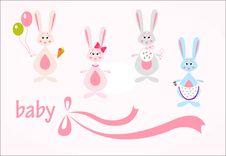 Free Set Of Hares, Baby Background Royalty Free Stock Photo - 20303375