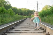 Free Adorable Girl Walk Along Rails Royalty Free Stock Photos - 20305188