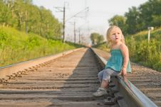 Free Adorable Girl Sit On Rail Wait For Train Royalty Free Stock Image - 20305216