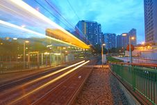 Free Traffic In Hong Kong At Night. Light Rail. Stock Images - 20305294