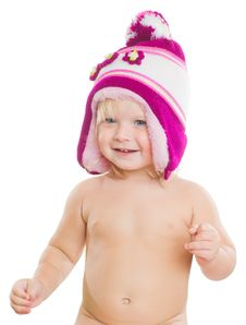 Free Adorable Girl Putting On Winter Hat On Head Royalty Free Stock Image - 20305396