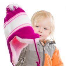 Adorablegirl Dressing Winter Jacket And Hat Stock Photos
