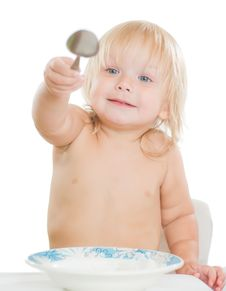 Free Adorable Toddler Girl Eat Porridge Stock Photo - 20305440