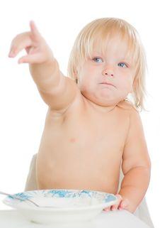 Free Adorable Toddler Girl Eat Porridge Stock Images - 20305444