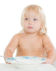 Free Adorable Toddler Girl Eat Porridge Royalty Free Stock Photos - 20305448