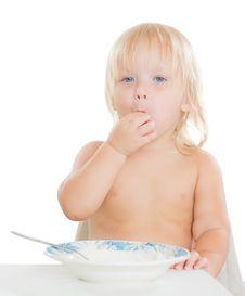 Free Adorable Toddler Girl Eat Porridge Royalty Free Stock Images - 20305449