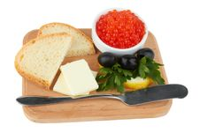 Free Served Caviar, With Butter And Toasts Royalty Free Stock Photos - 20305718