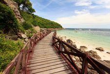 Wooden Bridge On Turquoise Seascape Royalty Free Stock Image