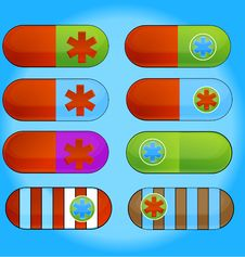 Vitamin Medic Colored Pills Sign Set Stock Photo