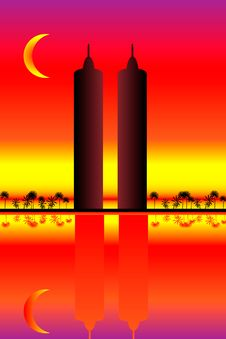 Free Two Skyscrapers At Sunset Royalty Free Stock Image - 20306686
