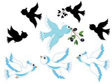Free White Doves Set Stock Photography - 20307022