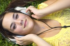 Free Beautiful Young Woman With Music Stock Photography - 20308012
