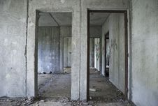 Inside Gray Abandoned Concrete House Stock Images