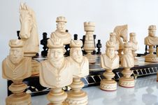 Free Chess Pieces On Wood Board Royalty Free Stock Photography - 20308347