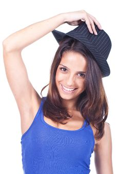Free Woman Wearing A Hat Royalty Free Stock Image - 20308476