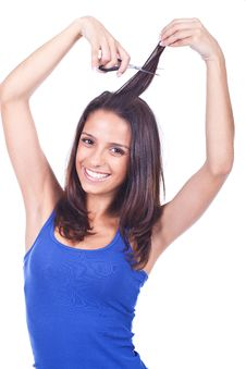 Free Woman Cutting Her Hair Royalty Free Stock Images - 20308489