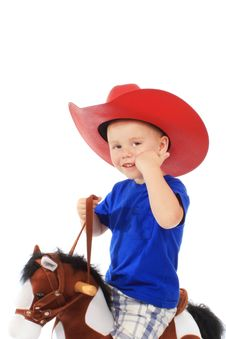 Free Little Cowboy On A Horse Royalty Free Stock Images - 20308899