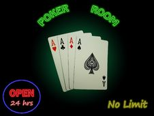 Free Four Aces In The Poker Room Royalty Free Stock Photography - 20309327