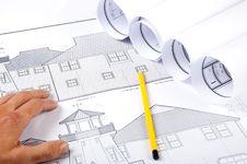 Free Pencil, Hand, Blueprints On Desktop Stock Images - 20309524