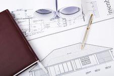 Free Construction Plans, Pen, Notepad Stock Photo - 20309580