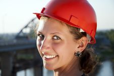 Free Young Architect-woman Wearing A Protective Helmet Stock Images - 20309654