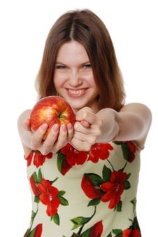 The Girl With An Apple Royalty Free Stock Images