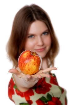 Free The Girl With An Apple Stock Photos - 20309733