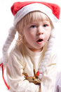 Free Little Girl In A Christmas Hat With Braids Stock Photos - 20311003