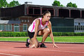 Free Young Woman In Sprinting Position Stock Photography - 20311032