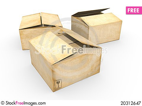 Free Three Cardboard Boxes Royalty Free Stock Photography - 20312647