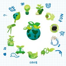 Cartoon Eco Card Stock Image