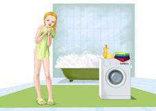 Free Girl Washing In Bathroom Stock Photo - 20310740