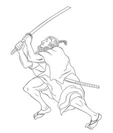Free Samurai Warrior With Katana Sword Fighting Stance Stock Photography - 20310922