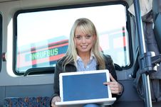 Free Woman Points At The Laptop-display Inside A Bus Stock Images - 20313064