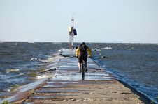Free Cyclist And The Sea Royalty Free Stock Photo - 20313065