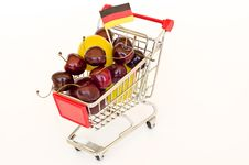 Free Shopping Cart With Plum And Cherry Royalty Free Stock Photo - 20313285