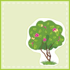 Stylized Tree With Butterflies In The Frame. Card Royalty Free Stock Photos