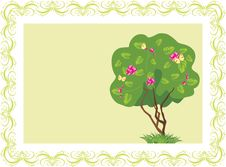 Free Stylized Tree With Butterflies In The Frame Stock Photos - 20313773