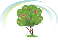 Free Stylized Flowering Tree With Butterflies Royalty Free Stock Photography - 20313777