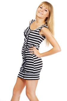 Woman In Striped Dress Stock Photography