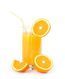 Orange Juice With Slices Of Orange In The Glass
