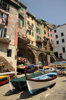 Free Boats On The Slipway - Riomaggiore, Italy Stock Images - 20316174